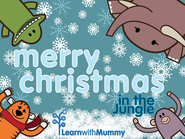 merry christmas from monkey tiger elephant crocodile learn with Mummy